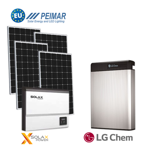 Kit fotovoltaico 6kW On-Grid inverter 5kW con accumulo 6.5kW LG